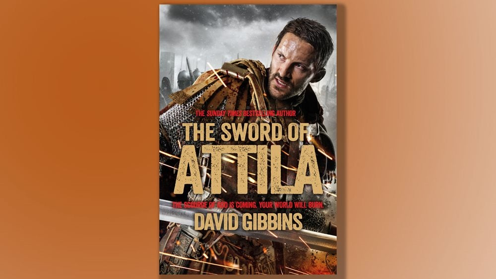 book cover of The Sword of Attila against an orange background